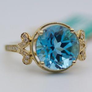 EFFY 14k Yellow Gold Blue Topaz And Diamond Ring